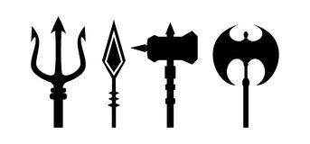 Ancient weapons outline vector. On white background Stock Image