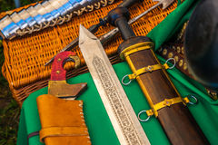 Ancient weapons and plate armor Stock Photos