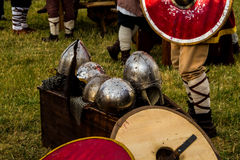 Ancient weapons reproduction for celtic festival in Montelago Italy. Used in battle tournament Stock Photography