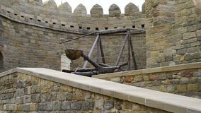 Ancient weapons on the walls of the fortress stock footage