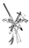 Ancient weapons of the wild West, drawn with ink. On a white background royalty free illustration