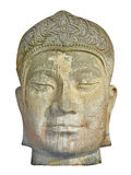 Ancient weather worn stone head artifact. Close up of the face of an ancient weather worn stone head artifact royalty free stock photography