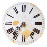 Ancient weathered clock face. With cracks stock images