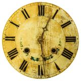 Ancient weathered clock face with cracks Stock Photography