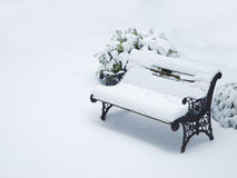 Bench in winter Stock Photos