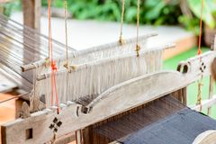 Ancient weaving machines. Handmade and crafts in north thailand stock image