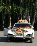 The ancient wedding car. Royalty Free Stock Images