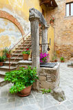 Ancient Well. In Courtyard, Italian City of Cetona Royalty Free Stock Photo