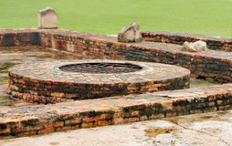 Ancient well at monastery ruins site Sarnath Royalty Free Stock Photography