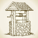 Ancient well. Vector drawing Royalty Free Stock Images