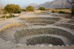 Ancient wells near town Nazca. Peru. Royalty Free Stock Photos