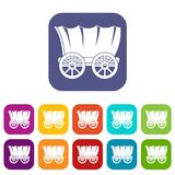 Ancient western covered wagon icons set flat Royalty Free Stock Photography