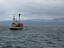 An ancient whaler sailing in Skjalfandi bay in northern Iceland near to Husavik looking for whales stock photos