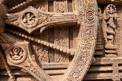Ancient wheel. Stone wheel in the ancient Sun Temple at Konark, Orissa, India. 13th Century AD Royalty Free Stock Photography