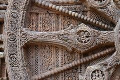 Ancient Wheel. Ancient wall wheel sculptors at the Konark sun temple in Orissa Stock Image