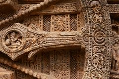 Ancient Wheel. Ancient wall wheel sculptors at the Konark sun temple in Orissa stock photography