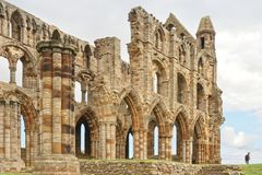 Ancient whitby abbey, yorkshire, uk. The ruins of Whitby Abbey in Yorkshire,  famous for providing inspiration for Bram Stoker`s Dracula, yorkshire, uk Royalty Free Stock Photos