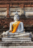 Ancient White Buddha Stock Image