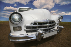 Ancient white car Stock Images