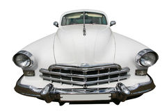 Ancient white car isolated Royalty Free Stock Photo