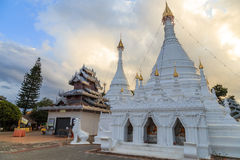 Ancient white  pagoda in the temple Royalty Free Stock Photos
