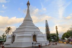Ancient white  pagoda in the temple Royalty Free Stock Photo