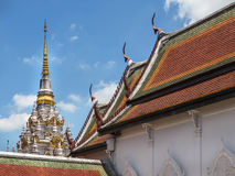 Ancient white pagoda in Wat Phra Borommathat Chaiya Ratchaworawihan temple Stock Images