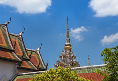 Ancient white pagoda in Wat Phra Borommathat Chaiya Ratchaworawihan temple Stock Photos