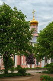 Ancient white-stone Orthodox Church monastery of the Golden domes among the trees. The vertical frame Royalty Free Stock Photo