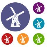 Ancient windmill icons set Royalty Free Stock Photos