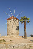Ancient windmill in Rhodes royalty free stock image