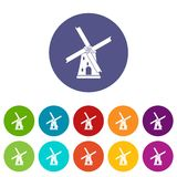 Ancient windmill set icons Royalty Free Stock Photography