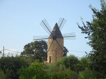 Ancient windmill in Sineu, Mallorca. Ancient windmill in the small village Sineu, Mallorca Stock Photography