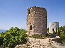 Ancient Windmills. Located in Spain Stock Image