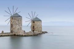 Ancient windmills of chios at night Royalty Free Stock Photo
