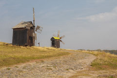 Ancient windmills in the field. Ukraine Royalty Free Stock Images