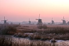 Ancient windmills at the Kinderdijk in Holland. Ancient windmills at the Kinderdijk in the Netherlands in wintertime at sunset Royalty Free Stock Image