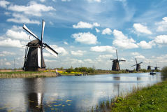 Ancient windmils near Kinderdijk, Netherlands Stock Image