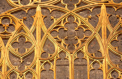 Ancient window. Gothic window of St.Vitus cathedral in Prague. Czech republic Royalty Free Stock Image