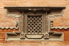 Ancient window of Hanuman Dhoka Durbar Stock Image