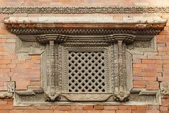Ancient window in Nasal Chowk Courtyard of Hanuman Dhoka Durbar Stock Image