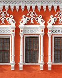Ancient windows. An old russian window is decorated Royalty Free Stock Photos