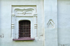 Ancient windows in the building of Theodor Stratilates church in Veliky Novgorod, Russia Stock Photography