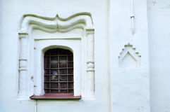 Ancient windows in the building of Theodor Stratilates church in Veliky Novgorod, Russia Royalty Free Stock Photo
