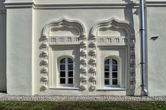 Ancient windows in the buildings of Saint Anthony monastery in Veliky Novgorod, Russia Royalty Free Stock Photography