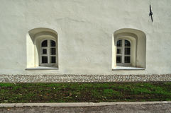 Ancient windows in the buildings of Saint Anthony monastery in Veliky Novgorod, Russia Royalty Free Stock Images