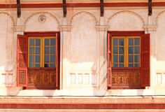 Ancient windows on old building Royalty Free Stock Photos