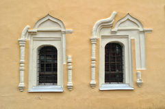Ancient windows in the St.Nikita building in Veliky Novgorod, Russia Royalty Free Stock Photos
