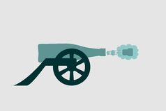 Ancient wine bottle cannon shoot Royalty Free Stock Image