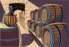 Ancient wine cellar, crammed with the wine barrels. Ancient wine cellar, crammed with the wine barrels and bottle Stock Images
